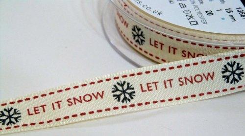 15mm Let it Snow Ribbon