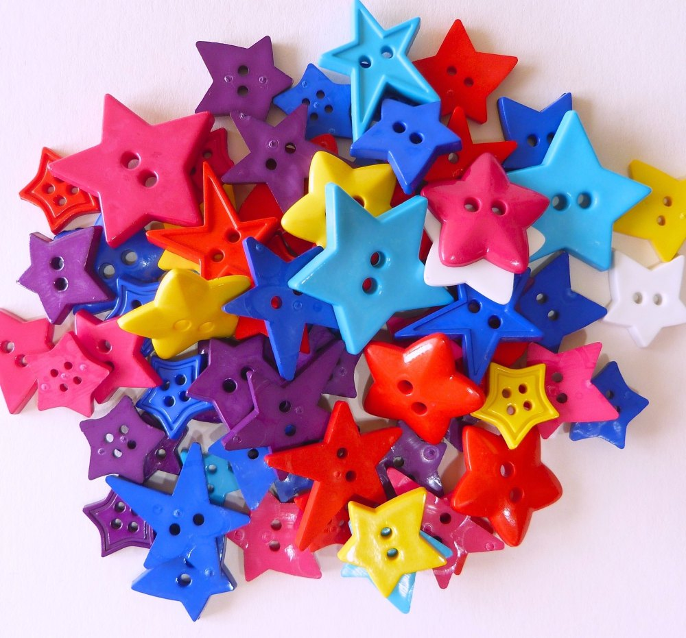 Star Shaped Buttons - 50g Bag