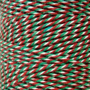 10m Bakers Twine: Green/White/Red