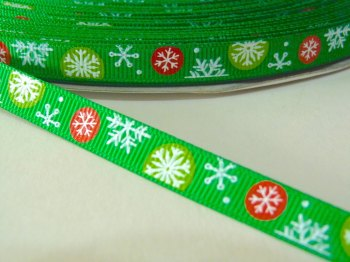 10mm Multi Snowflake Grosgrain Ribbon - Green