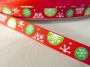 10mm Multi Snowflake Grosgrain Ribbon - Red