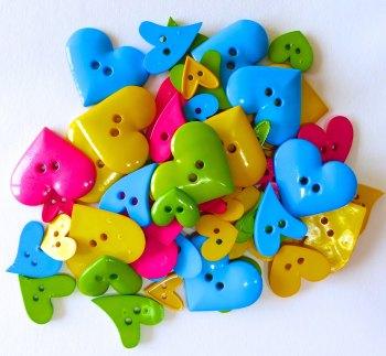 50g Bright Valentine Heart Buttons