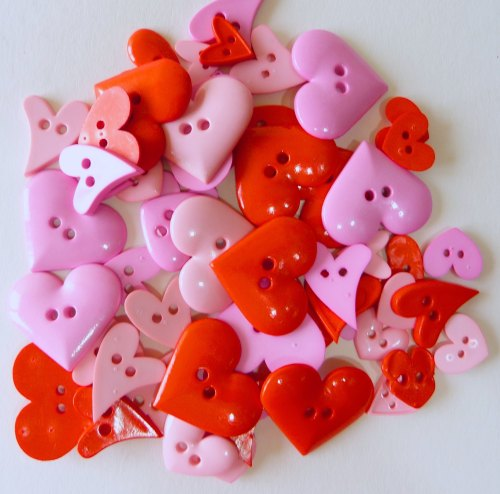 50g Pinks Valentine Heart Buttons