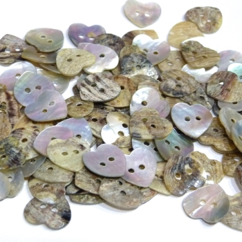 Pack of 20 - 14mm Mother Of Pearl Heart buttons