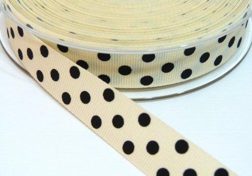 15mm Berisfords Polka Dot Grosgrain Ribbon - Cream/Black Dot