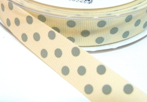 15mm Berisfords Polka Dot Grosgrain Ribbon - Cream/Grey Dot