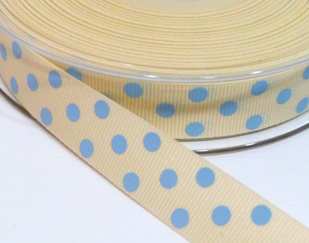 15mm Berisfords Polka Dot Grosgrain Ribbon - Cream/Light Blue Dot