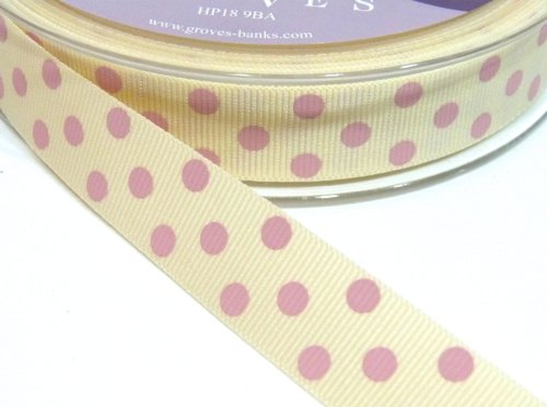 15mm Berisfords Polka Dot Grosgrain Ribbon - Cream/Pink Dot