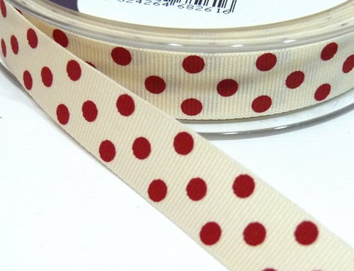 15mm Berisfords Polka Dot Grosgrain Ribbon - Cream/Red Dot