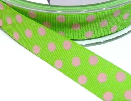 15mm Berisfords Polka Dot Grosgrain Ribbon - Green/Pink Dot