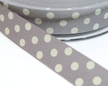 15mm Berisfords Polka Dot Grosgrain Ribbon - Grey/Cream Dot