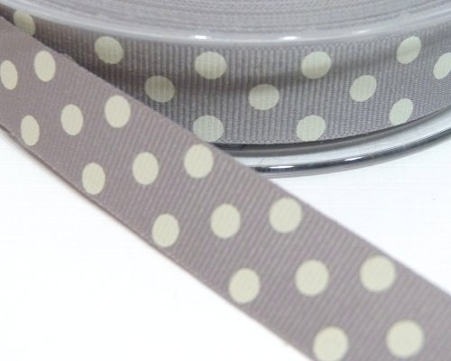 15mm Berisfords Polka Dot Grosgrain Ribbon - Grey/Cream Dot
