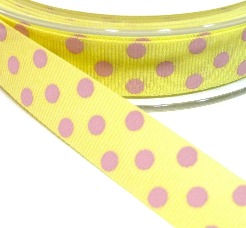 15mm Berisfords Polka Dot Grosgrain Ribbon - Lemon/Pink Dot
