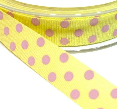 15mm Berisfords Polka Dot Grosgrain Ribbon - Lemon/Pink Dot