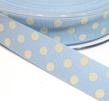 15mm Berisfords Polka Dot Grosgrain Ribbon - Light Blue/White Dot