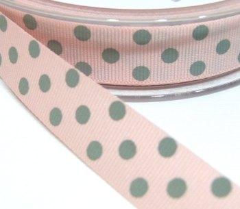 15mm Berisfords Polka Dot Grosgrain Ribbon - Pink/Grey Dot