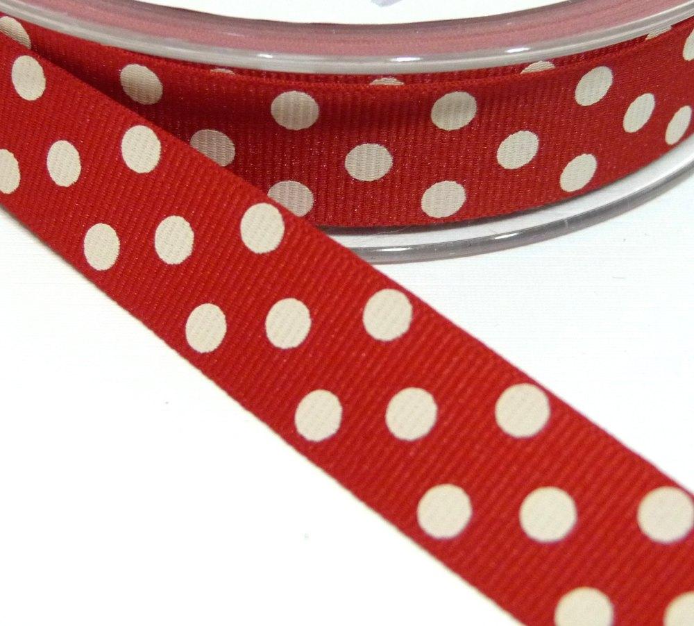 15mm Berisfords Polka Dot Grosgrain Ribbon - Red/Cream Dot