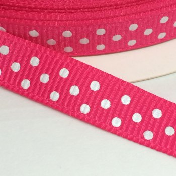 9mm Polka Dot Grosgrain Ribbon - Fuchsia