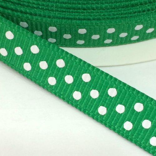 9mm Polka Dot Grosgrain Ribbon - Green