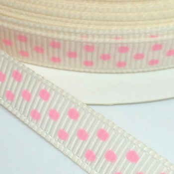 9mm Polka Dot Grosgrain Ribbon - Ivory/Pink