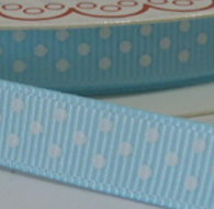 9mm Polka Dot Grosgrain Ribbon - Light Blue