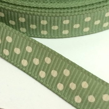 9mm Polka Dot Grosgrain Ribbon - Sage Green