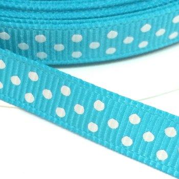 9mm Polka Dot Grosgrain Ribbon - Turquoise
