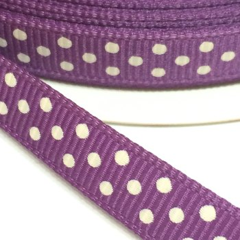 9mm Polka Dot Grosgrain Ribbon - Amethyst