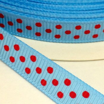 9mm Polka Dot Grosgrain Ribbon - Blue/Red