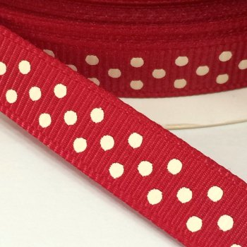 9mm Polka Dot Grosgrain Ribbon - Dark Red