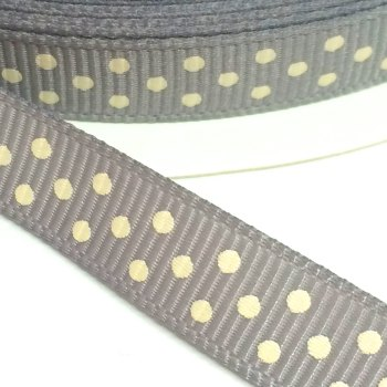 9mm Polka Dot Grosgrain Ribbon - Grey