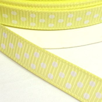 9mm Polka Dot Grosgrain Ribbon - Lemon