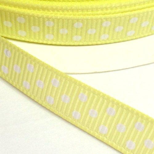 9mm Polka Dot Grosgrain Ribbon - Lemon