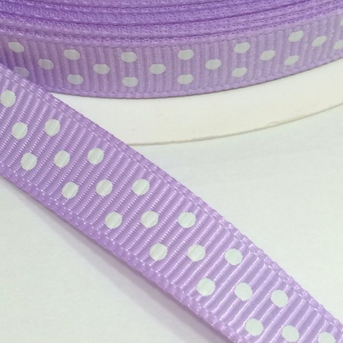 9mm Polka Dot Grosgrain Ribbon - Lilac