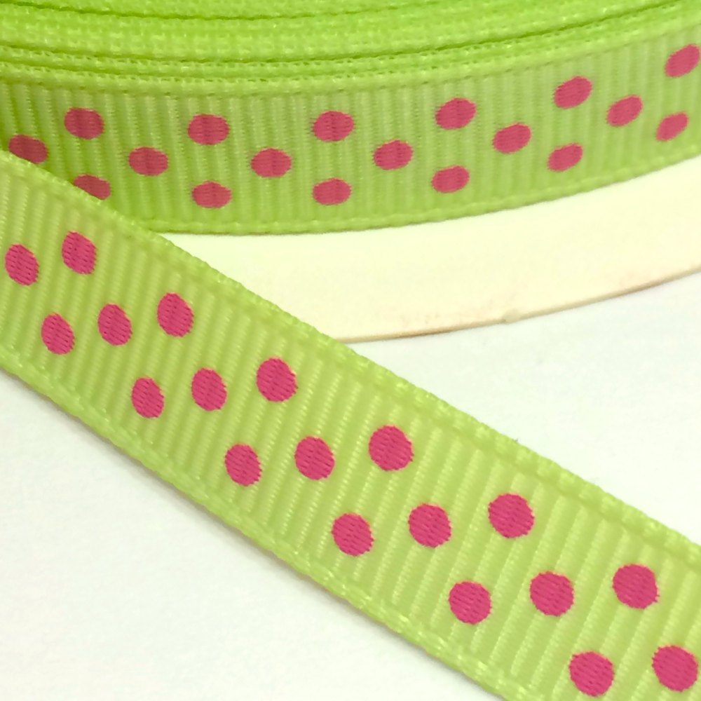 9mm Polka Dot Grosgrain Ribbon - Lime/Fuchsia