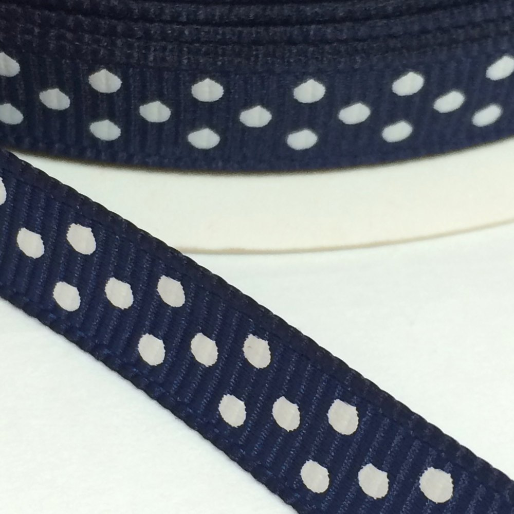 9mm Polka Dot Grosgrain Ribbon - Navy