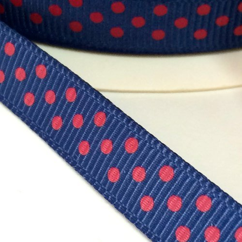 9mm Polka Dot Grosgrain Ribbon - Navy/Red