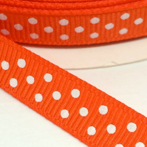 9mm Polka Dot Grosgrain Ribbon - Orange