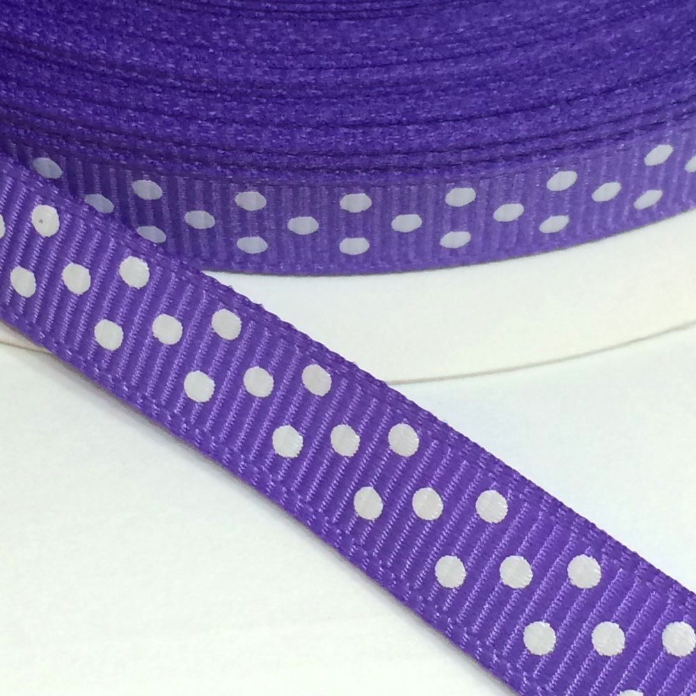 9mm Polka Dot Grosgrain Ribbon - Purple