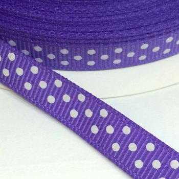9mm Polka Dot Grosgrain Ribbon - Purple