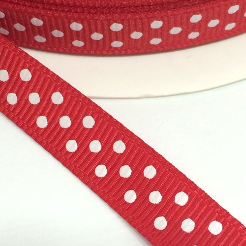 9mm Polka Dot Grosgrain Ribbon - Red