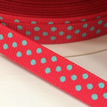 9mm Polka Dot Grosgrain Ribbon - Red/Grey