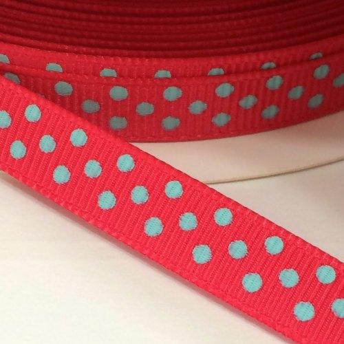 9mm Polka Dot Grosgrain Ribbon - Red/Turquoise