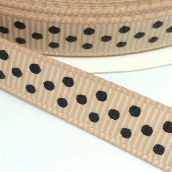 9mm Polka Dot Grosgrain Ribbon - Taupe/Black