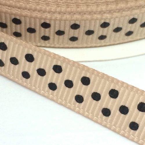 9mm Polka Dot Grosgrain Ribbon - Taupe/Black