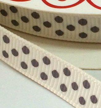 9mm Polka Dot Grosgrain Ribbon - White/Grey