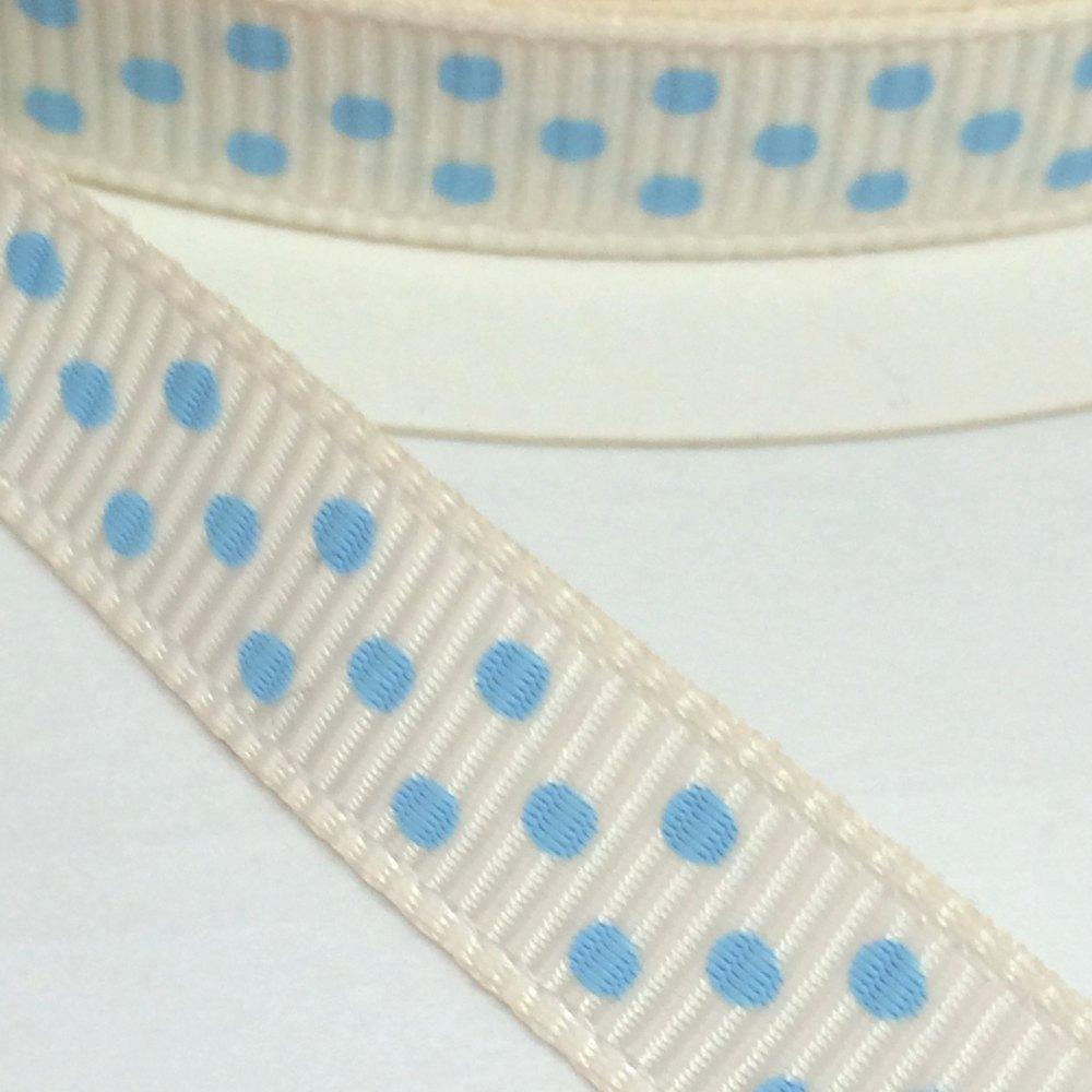9mm Polka Dot Grosgrain Ribbon - White/Light Blue
