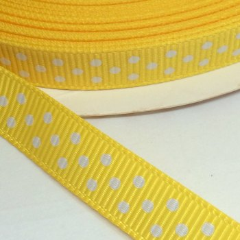 9mm Polka Dot Grosgrain Ribbon - Yellow