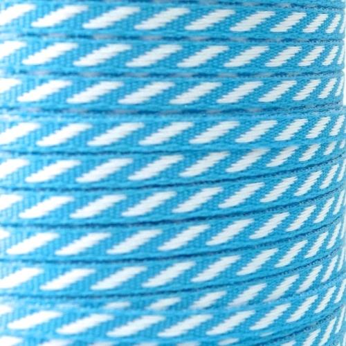 4mm wide Diagonal Stripe Ribbon - Blue