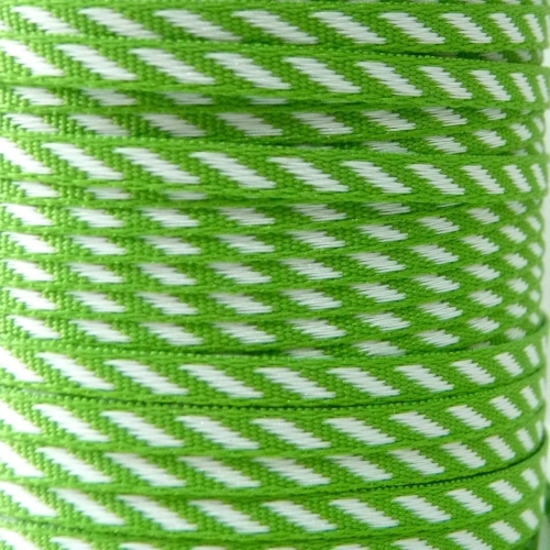4mm wide Diagonal Stripe Ribbon - Green